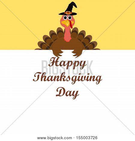 Turkey congratulatory banner on Thanksgiving Day vector