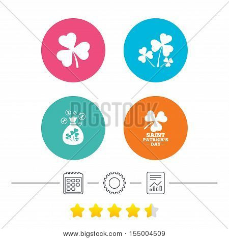 Saint Patrick day icons. Money bag with clover and coins sign. Trefoil shamrock clover. Symbol of good luck. Calendar, cogwheel and report linear icons. Star vote ranking. Vector