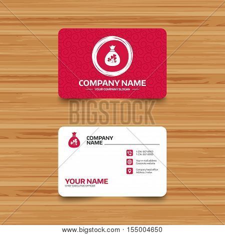 Business card template with texture. Money bag with three leaves clovers sign icon. Saint Patrick trefoil shamrock symbol. Phone, web and location icons. Visiting card  Vector