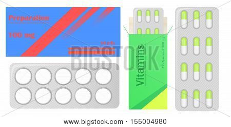 Pills in pack. Tablets pills in box. Medical drugs. Medicine vitamins Pills in blister packs