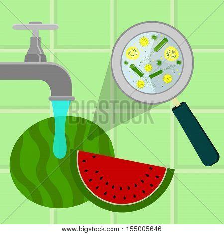 Washing Contaminated Watermelon