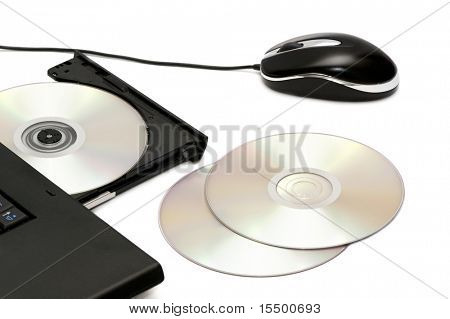 computer disk drive and mouse isolated on a white background