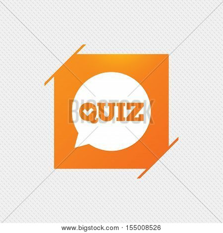 Quiz check in speech bubble sign icon. Questions and answers game symbol. Orange square label on pattern. Vector