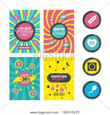 Sale website banner templates. Safe sex love icons. Condom and package symbol. Sperm sign. Fertilization or insemination. Ads promotional material. Vector