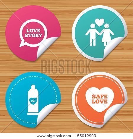 Round stickers or website banners. Condom safe sex icons. Lovers couple signs. Male love female. Speech bubble with heart. Circle badges with bended corner. Vector