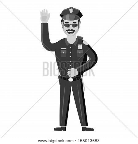 Policeman icon. Gray monochrome illustration of policeman vector icon for web