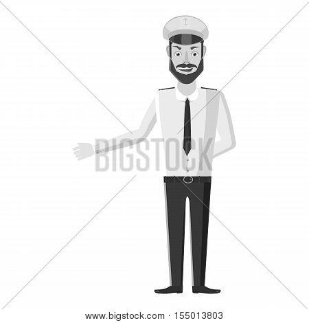Captain of ship icon. Gray monochrome illustration of captain of ship vector icon for web