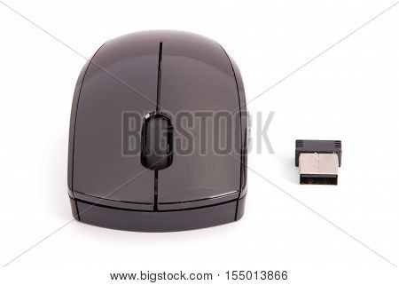 Black USB card reader in a mouse shape the mouse can be use with the computer as well an image isolated on white background with soft shadow. Clipping path