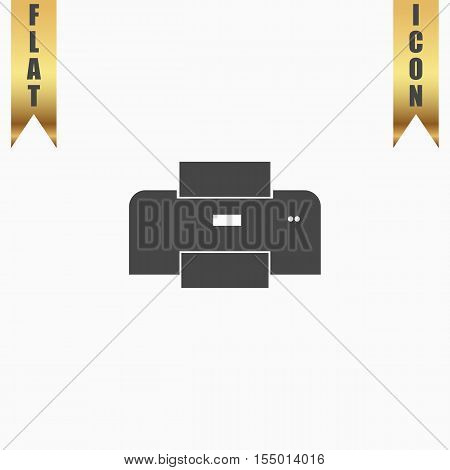 Printer. Flat Icon. Vector illustration grey symbol on white background with gold ribbon