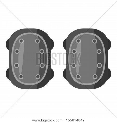 Military knee pads icon. Gray monochrome illustration of military knee pads vector icon for web