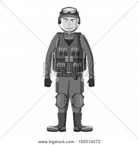 Soldier in body armor icon. Gray monochrome illustration of soldier in body armor vector icon for web