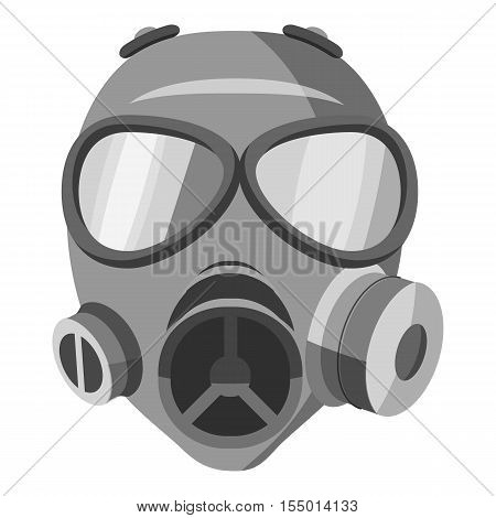Gas mask icon. Gray monochrome illustration of gas mask vector icon for web