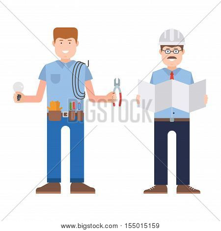 Construction worker wearing work clothes working with different tools. Worker man vector character design isolated. Person professional worker man.