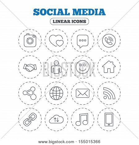 Social media icons. Speech bubble, lovers relationships and human person. Rss, share and mail envelope. Musical note, smartphone and smile. Round flat buttons with linear icons. Vector