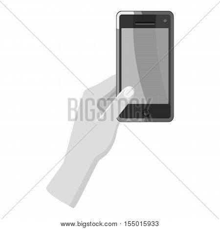 Hand holding phone icon. Gray monochrome illustration of hand holding phone vector icon for web