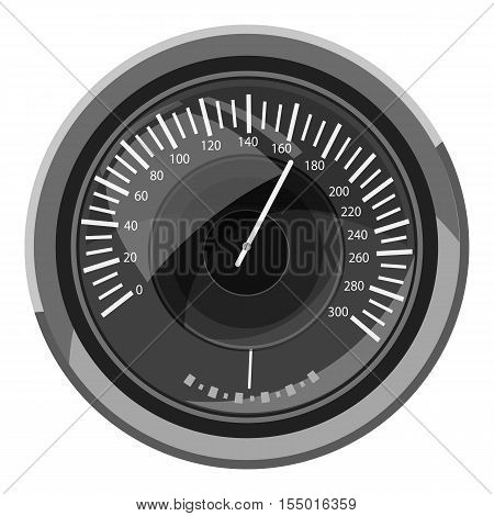 Speedometer icon. Gray monochrome illustration of speedometer vector icon for web