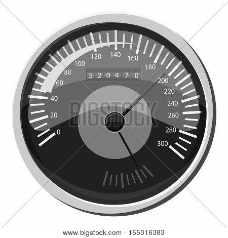 Car speedometer icon. Gray monochrome illustration of car speedometer vector icon for web