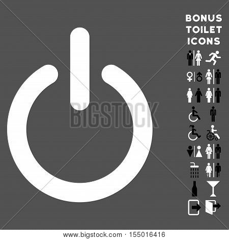 Turn Off icon and bonus male and woman lavatory symbols. Vector illustration style is flat iconic bicolor symbols, black and white colors, gray background.