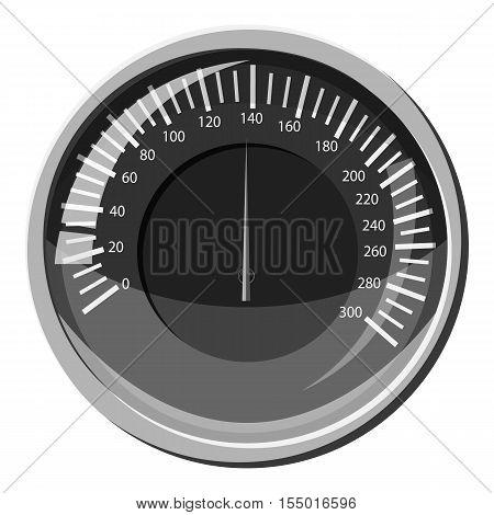 Automobile speedometer icon. Gray monochrome illustration of automobile speedometer vector icon for web