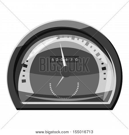 Vehicle speedometer icon. Gray monochrome illustration of vehicle speedometer vector icon for web