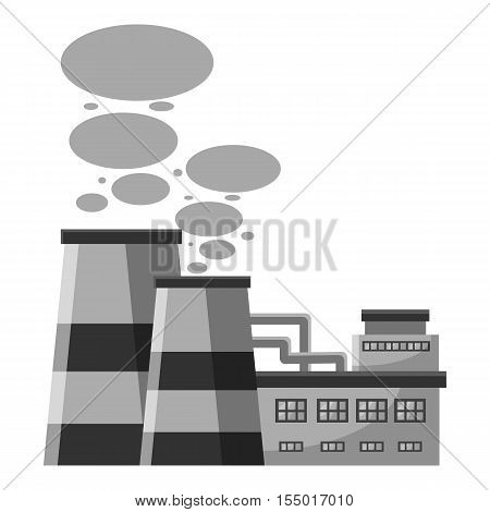 Plant produces smoke from chimneys icon. Gray monochrome illustration of plant produces smoke from chimneys vector icon for web