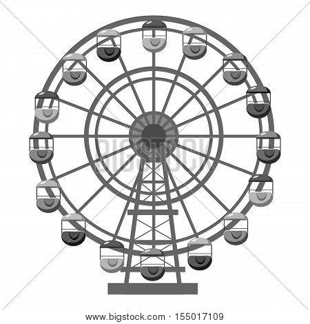 Ferris wheel icon. Gray monochrome illustration of ferris wheel vector icon for web