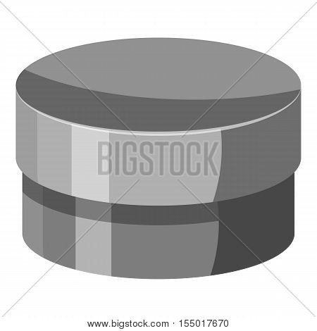 Round jar for cream icon. Gray monochrome illustration of round jar for cream vector icon for web