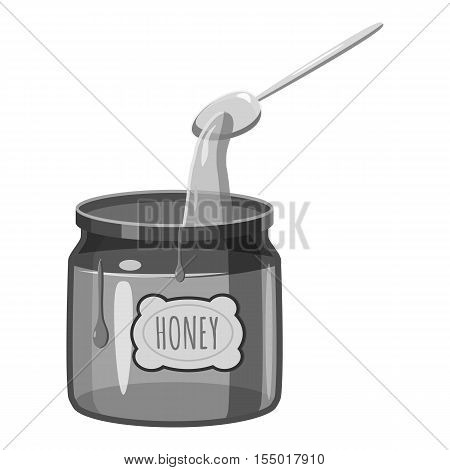 Jar of honey with spoon icon. Gray monochrome illustration of jar of honey with spoon vector icon for web
