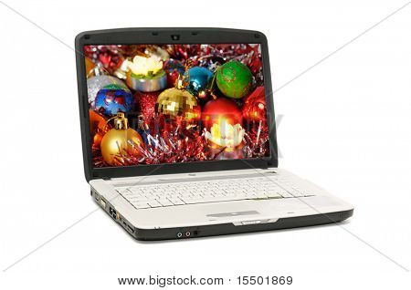 laptop isolated on a white background. I am original artist of the background picture of the screen laptop.