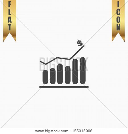 Graph. Flat Icon. Vector illustration grey symbol on white background with gold ribbon