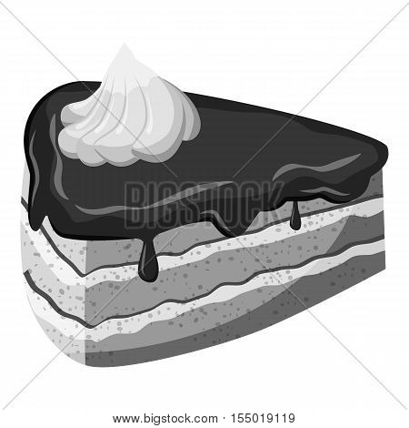 Piece of cake icon. Gray monochrome illustration of piece of cake vector icon for web