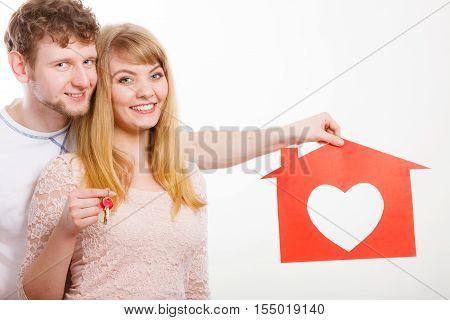 Enamoured Young Marriage With House And Keys.