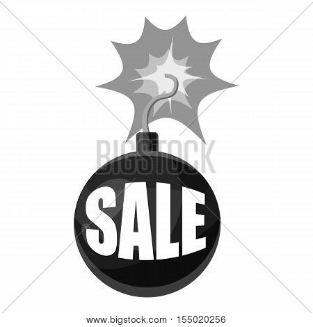 Bomb with the word sale icon. Gray monochrome illustration of bomb with the word sale vector icon for web