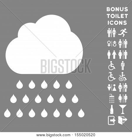 Rain Cloud icon and bonus gentleman and female restroom symbols. Vector illustration style is flat iconic symbols, white color, gray background.
