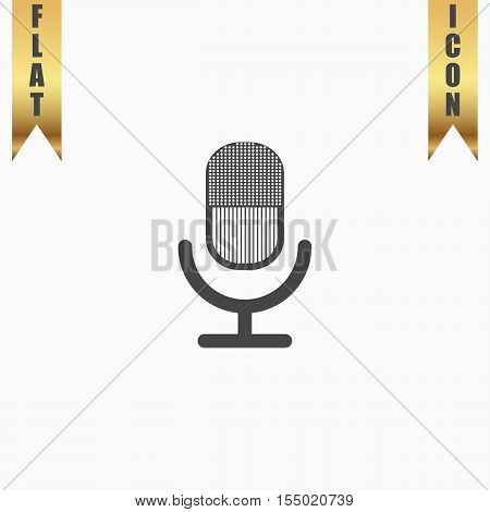 Retro microphone. Flat Icon. Vector illustration grey symbol on white background with gold ribbon