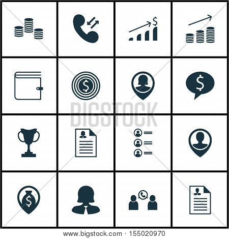 Set Of Management Icons On Cellular Data, Business Woman And Pin Employee Topics. Editable Vector Il