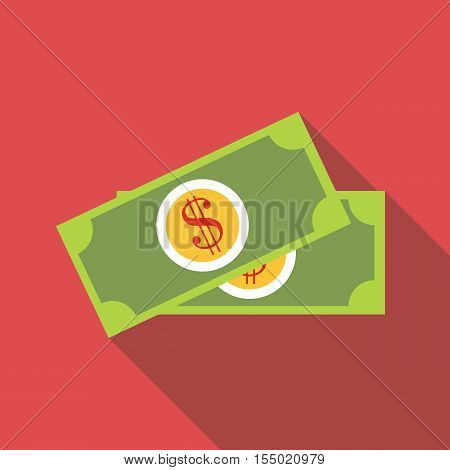 Dollar banknotes icon. Flat illustration of dollar banknotes vector icon for web