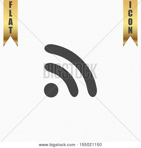 Podcast. Flat Icon. Vector illustration grey symbol on white background with gold ribbon