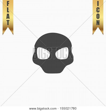Alien Head. Flat Icon. Vector illustration grey symbol on white background with gold ribbon