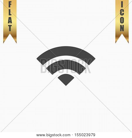 Simple RSS. Flat Icon. Vector illustration grey symbol on white background with gold ribbon