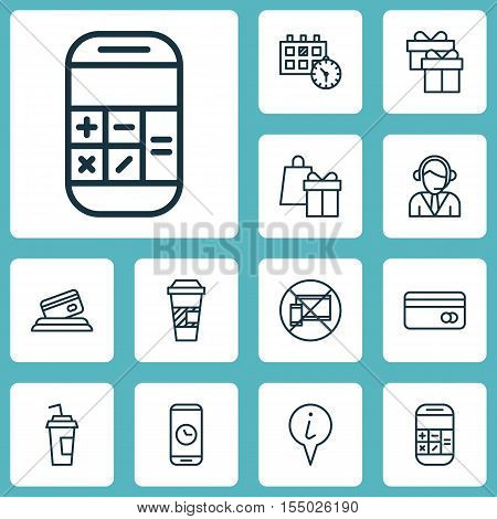 Set Of Travel Icons On Operator, Appointment And Shopping Topics. Editable Vector Illustration. Incl