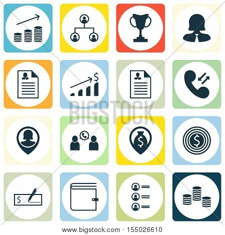 Set Of Human Resources Icons On Wallet, Curriculum Vitae And Successful Investment Topics. Editable