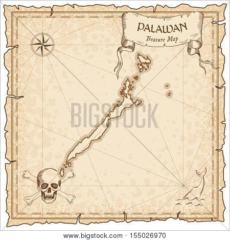 Palawan Old Pirate Map. Sepia Engraved Parchment Template Of Treasure Island. Stylized Manuscript On