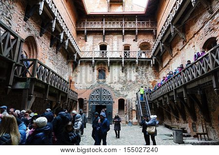 Trakai Lithuania - October 16 2016: Trakai castle on the lakes is visited by hundreds of thousands of tourists every year. The inside of the castle.