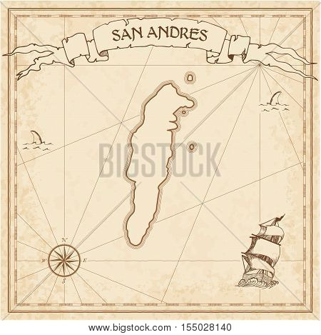 San Andres Old Treasure Map. Sepia Engraved Template Of Pirate Island Parchment. Stylized Manuscript