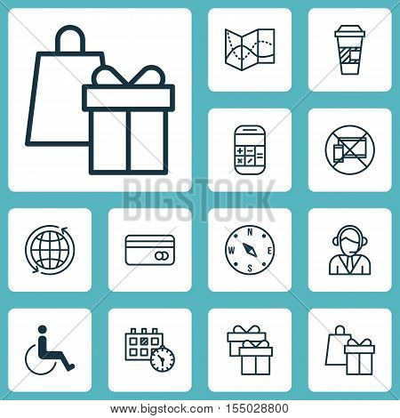 Set Of Airport Icons On Plastic Card, Shopping And Road Map Topics. Editable Vector Illustration. In