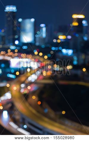 Blurred lights highway interchanged night view, abstract background