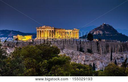 Parthenon of Athens at dusk time Greece