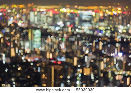 Blurred lights city residence area, Tokyo downtown night view