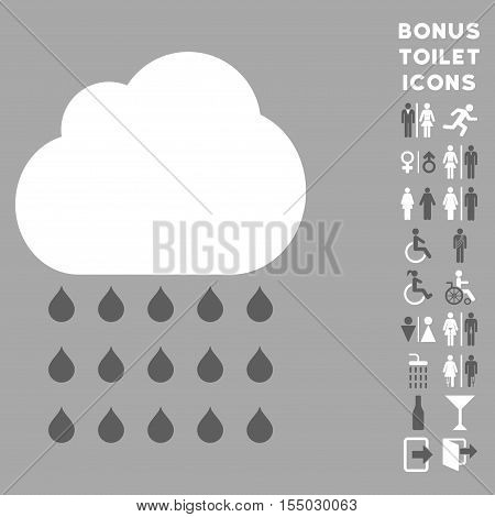 Rain Cloud icon and bonus male and female WC symbols. Vector illustration style is flat iconic bicolor symbols, dark gray and white colors, silver background.